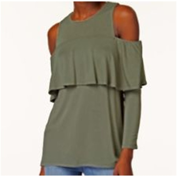 784774d3680563 Kensie Cold Shoulder Ruffle Top Olive Green NEW